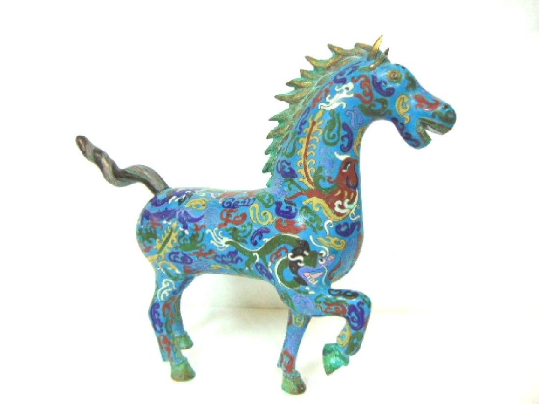 DECORATIVE CHINESE ASIAN MING CLOISONNE HORSE FIGURE