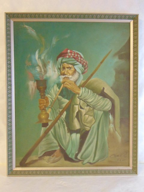 VINTAGE MIDDLE EASTERN MAN SMOKING HOOKAH PAINTING
