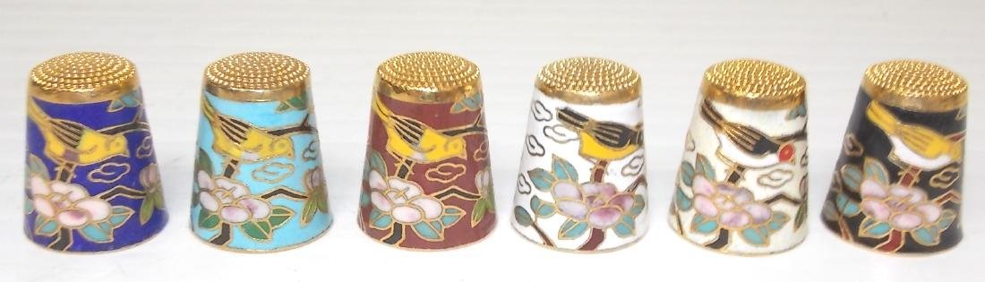 SET OF 6 CHINESE CLOISONNE THIMBLES