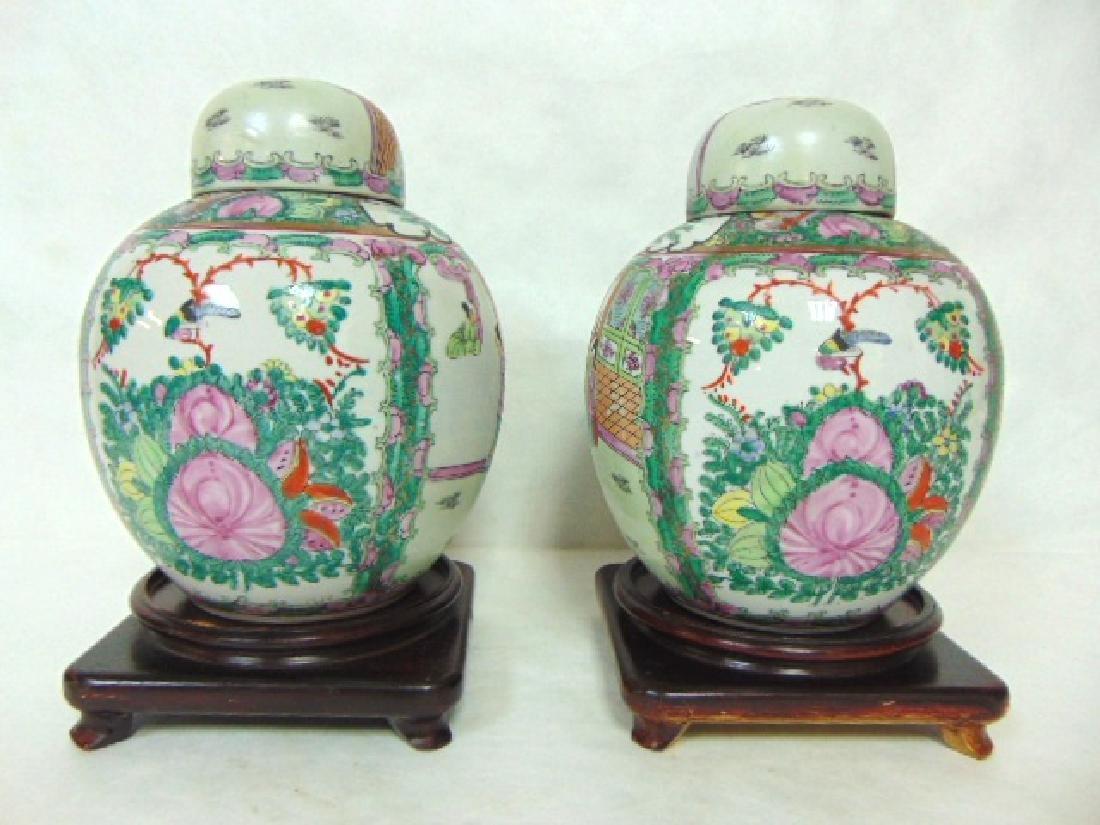 PR VINTAGE CHINESE ROSE MEDALLION PORCELAIN JARS