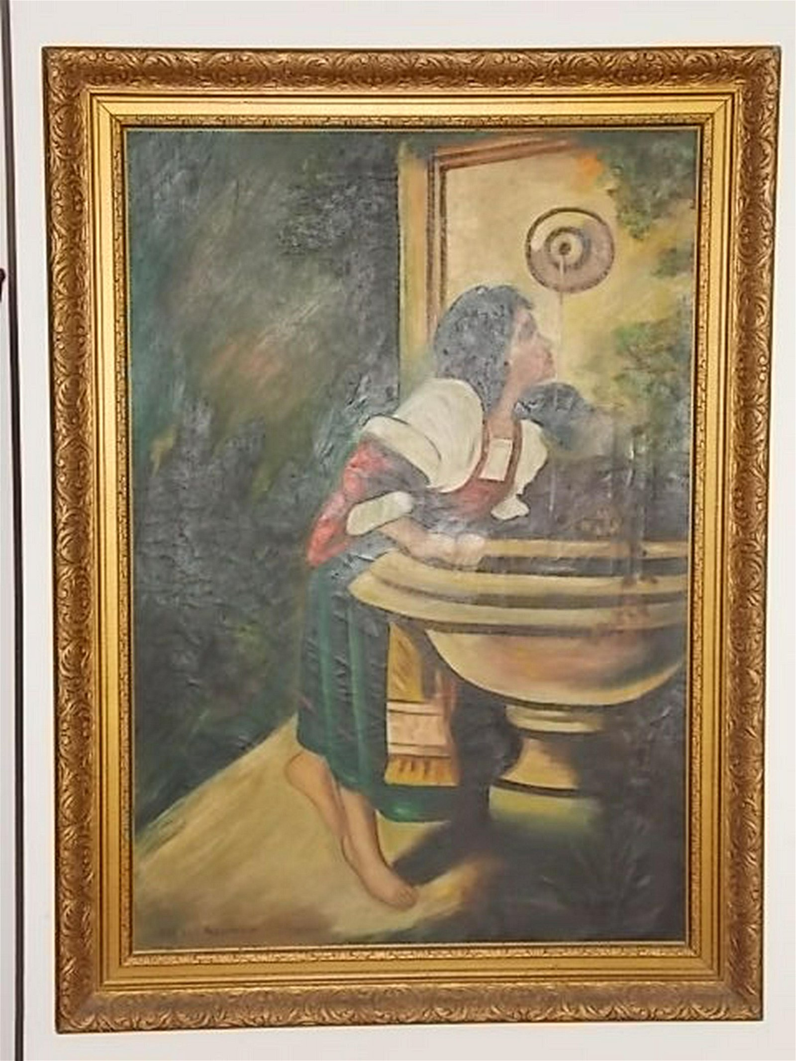 ANTIQUE L. TRESTMAN OIL ON CANVAS PAINTING OF WOMAN