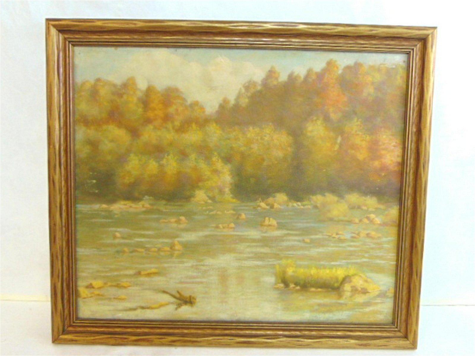 Antique River Scene Oil Painting Listed Artist Dovener