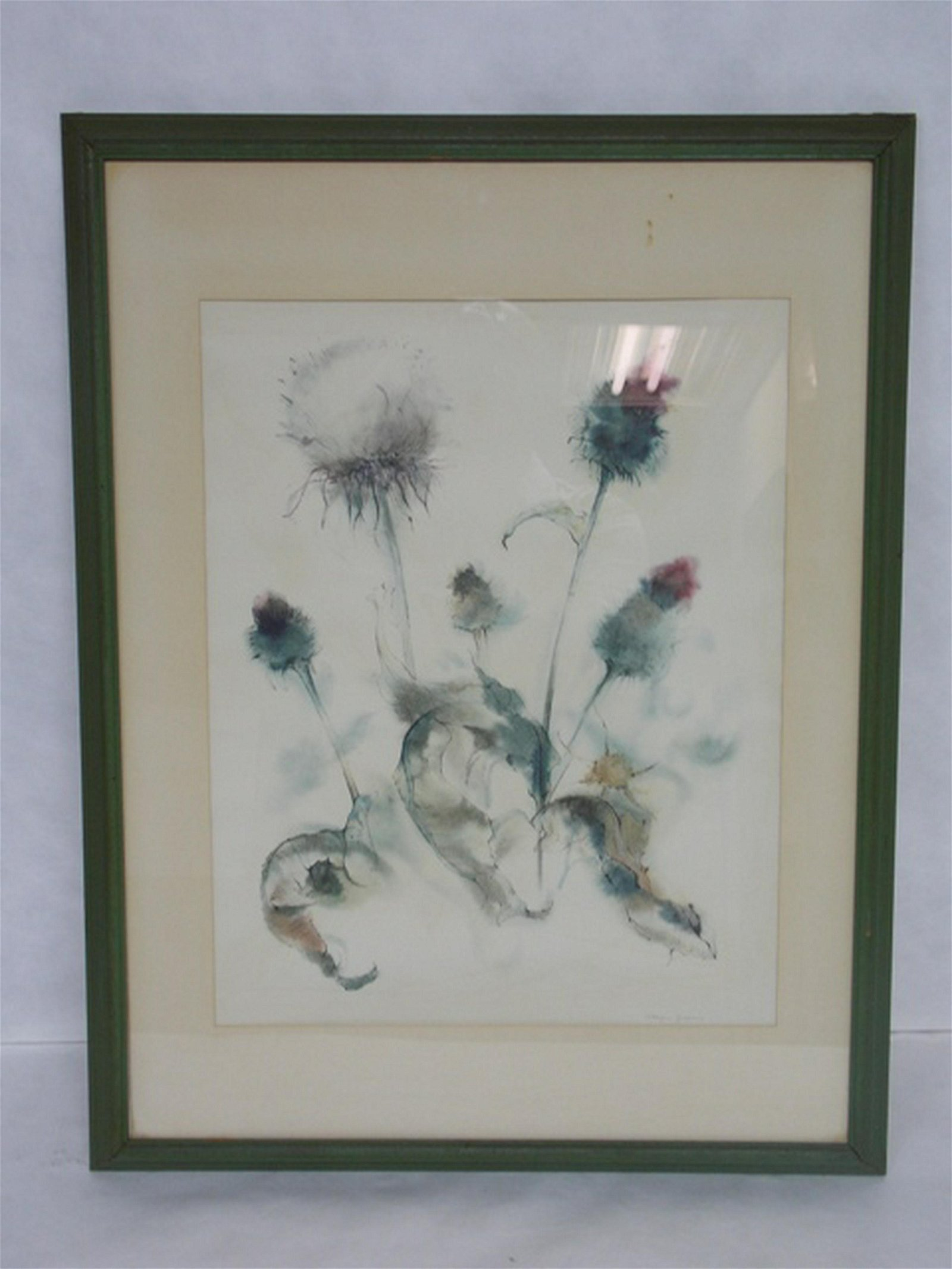 ANTIQUE WATERCOLOR FLORAL PAINTING ARTIST SIGNED