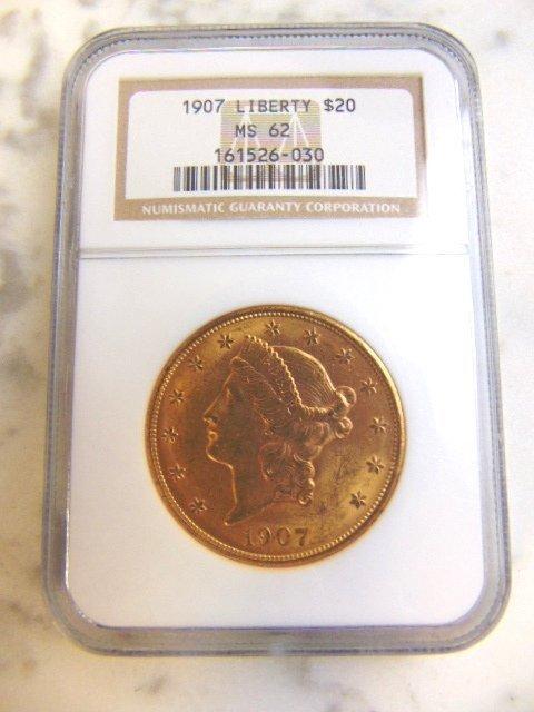 Graded Estate Find 1907 U.S. $20 Gold Liberty Coin