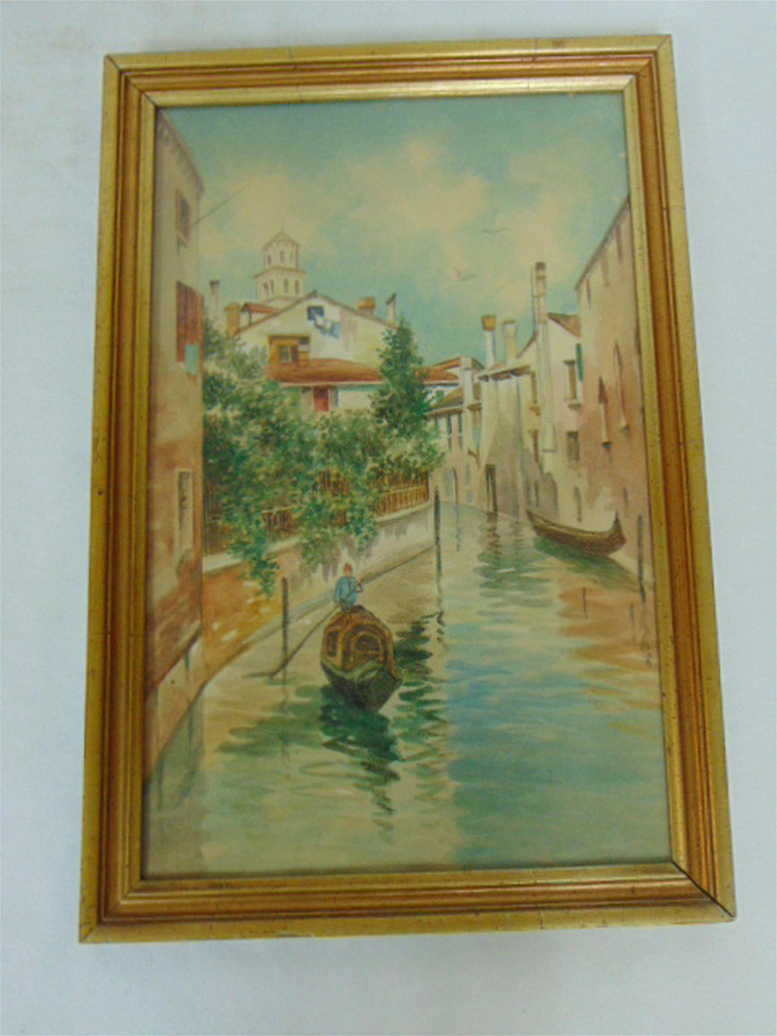 ORIGINAL ANTIQUE WATERCOLOR OF VENICE ITALY