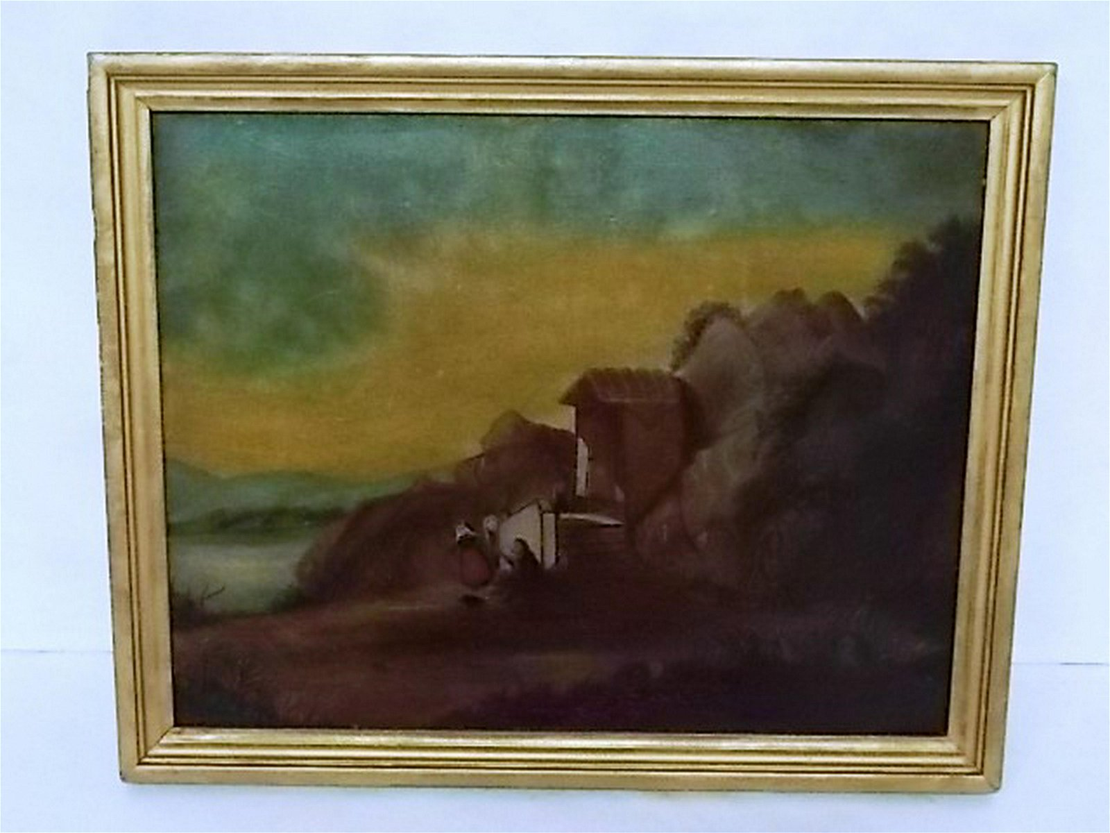 ANTIQUE OIL LANDSCAPE ON BOARD PAINTING