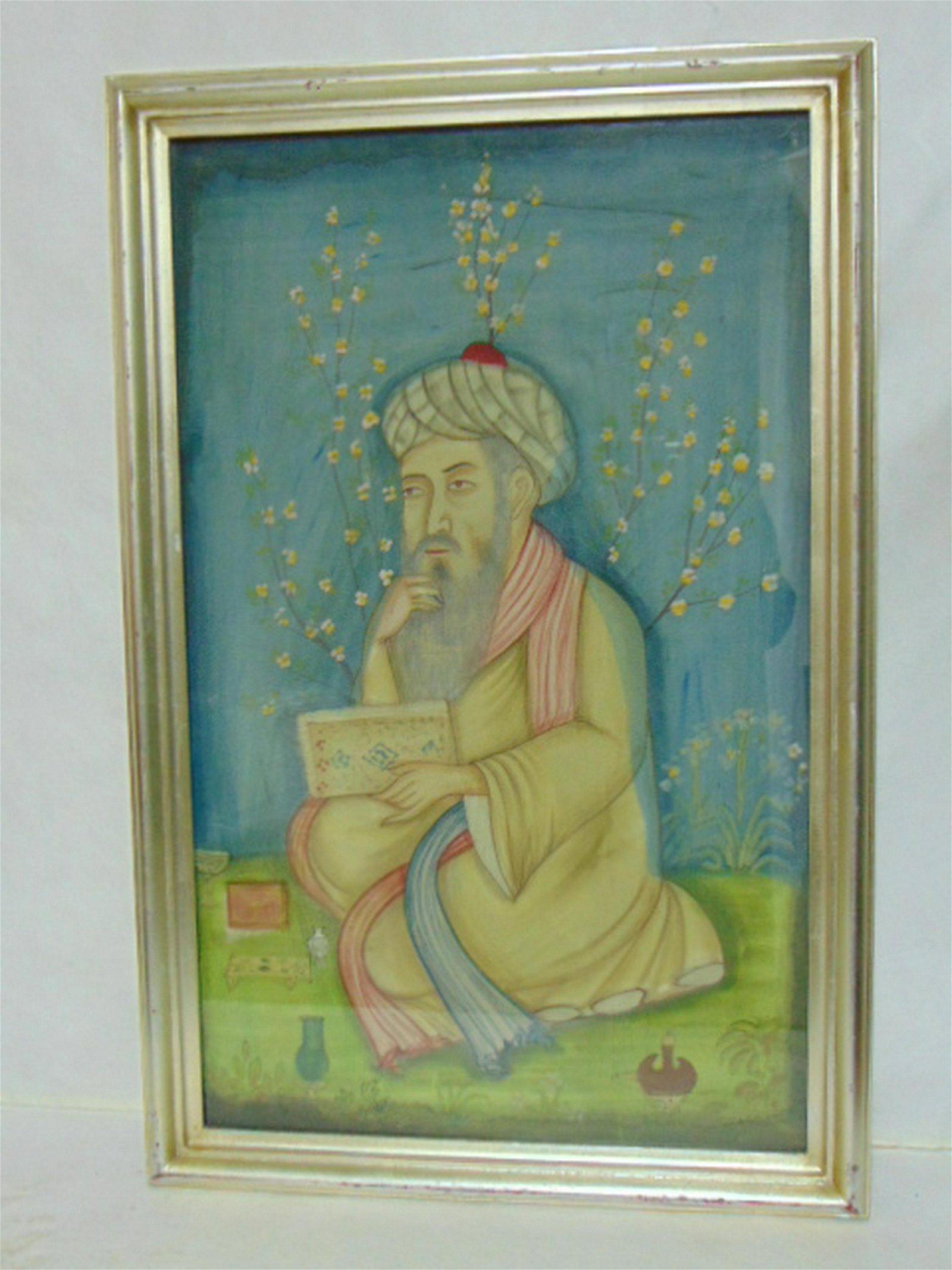 DECORATIVE VINTAGE PERSIAN WATERCOLOR OMAR KHAYYAM