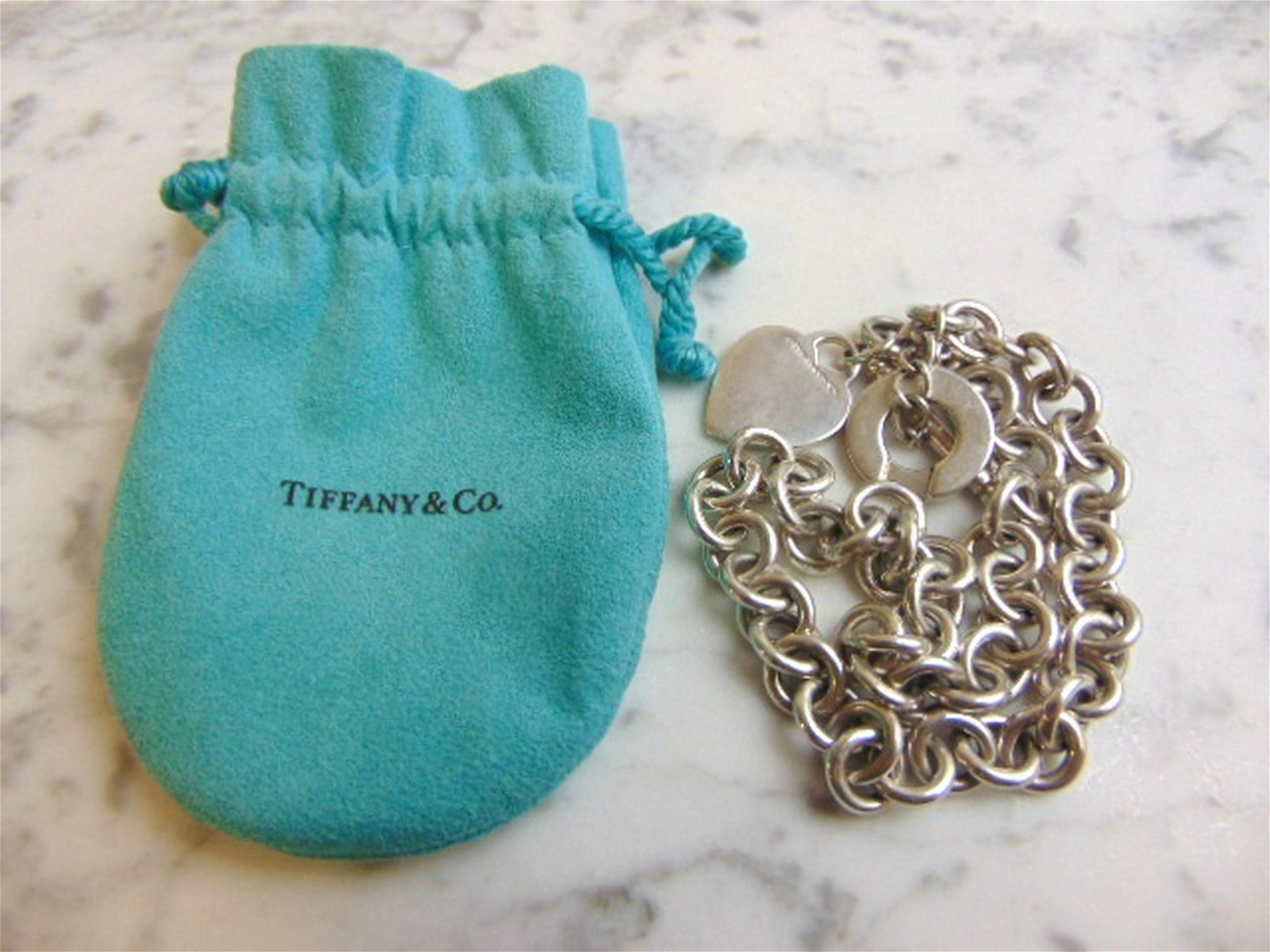 Sterling Silver Tiffany & Co Dog Tag Heart Necklace
