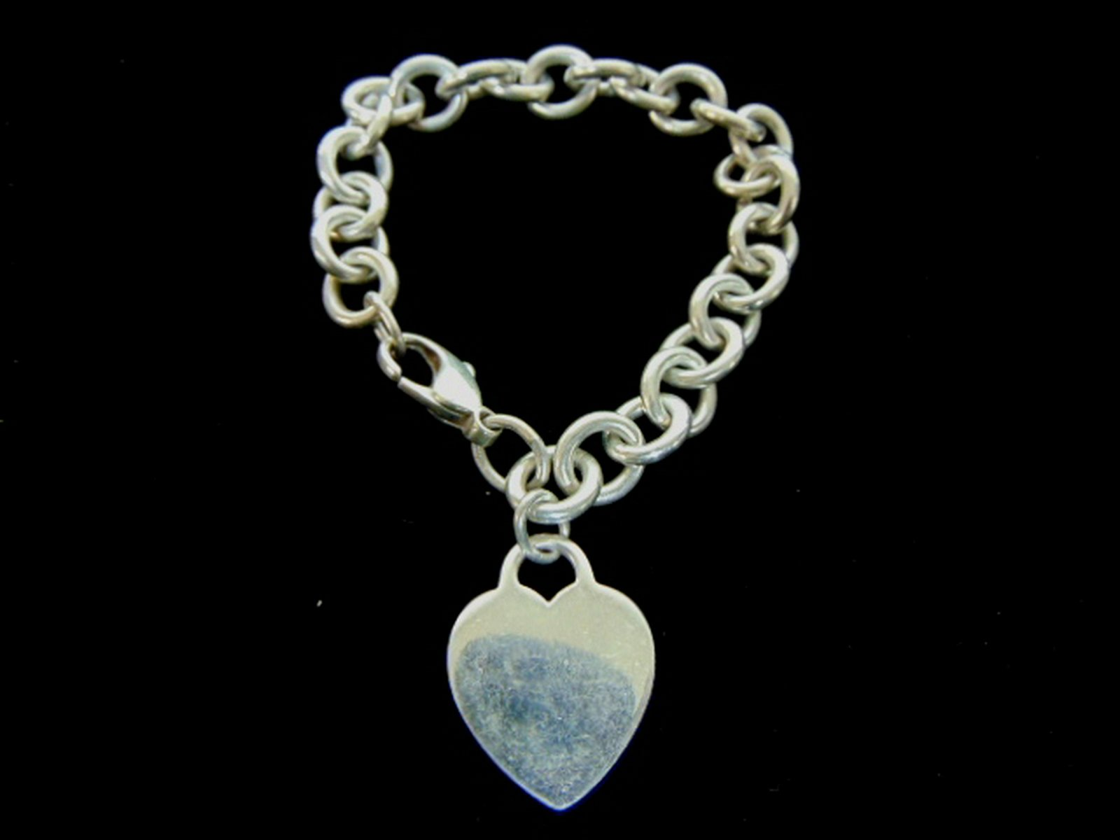 Sterling Silver Tiffany & Co Dogtag Heart Bracelet