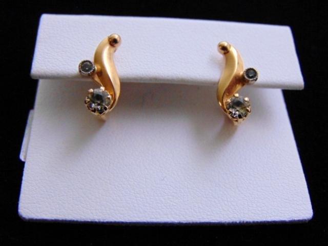 Womens Vintage 14K Gold Earrings w/ Russian Stamp