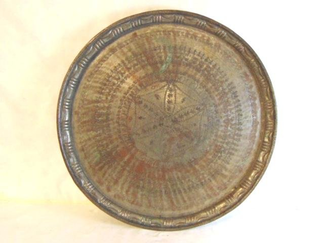 HUGE ANTIQUE PERSIAN COPPER CHARGER TRAY