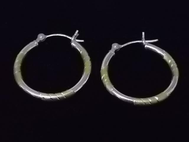VINTAGE 14K WHITE & YELLOW GOLD HOOP EARRINGS 1.1g