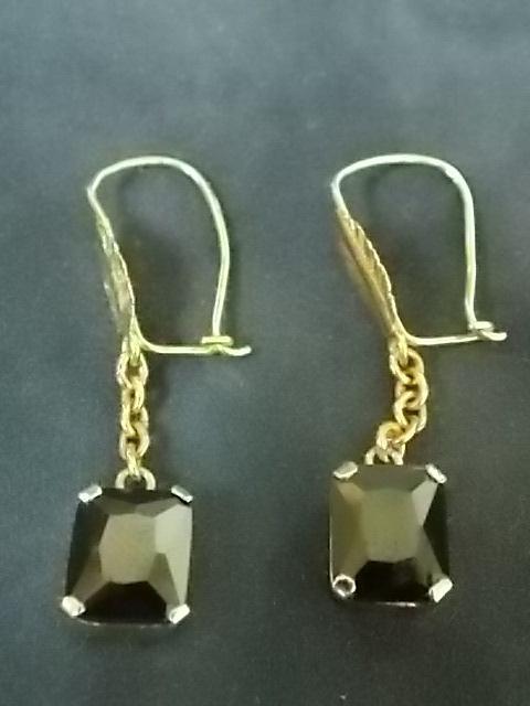 Vintage Estate 14K Gold Earrings W/ Stones 4.35g