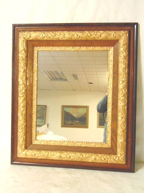 Antique Victorian Walnut Gold Leaf Wall Mirror