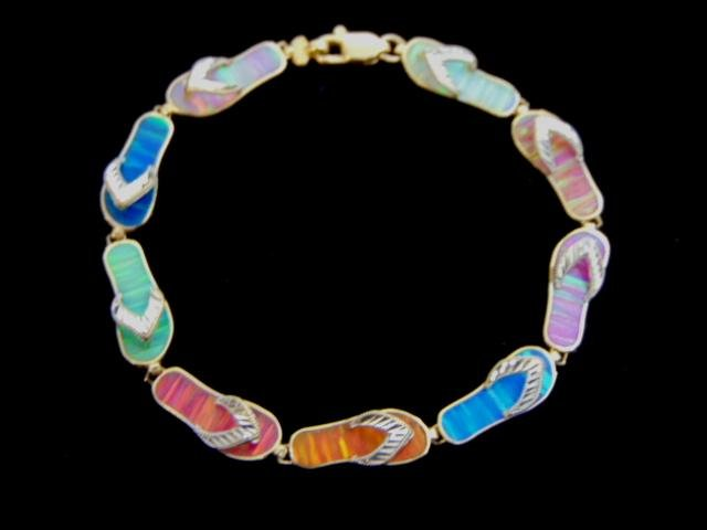 Womens Vintage 14k Gold Na Hoku Slipper Link Bracelet