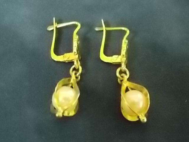 Vintage Estate 14K Yellow Gold Earrings W/ Pearls 4.38g