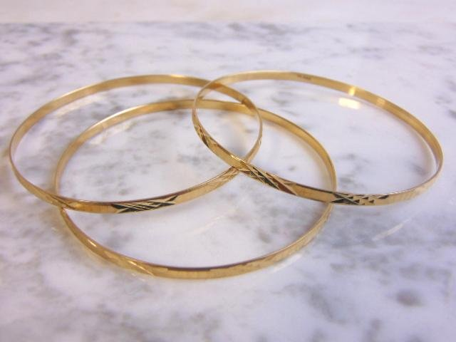 3pc Womens Vintage 14K Yellow Gold Bangle Bracelets