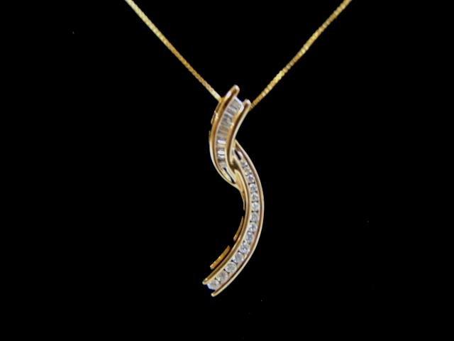 Womens Vintage Estate 10k Gold Diamond Pendant