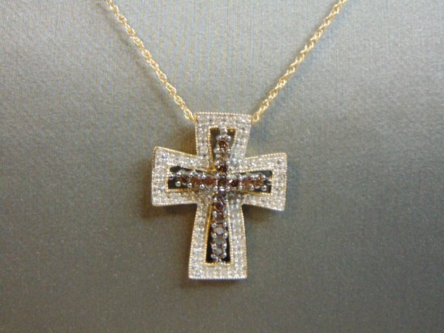 Womens 14k Gold Necklace w/ Diamond Cross Pendant