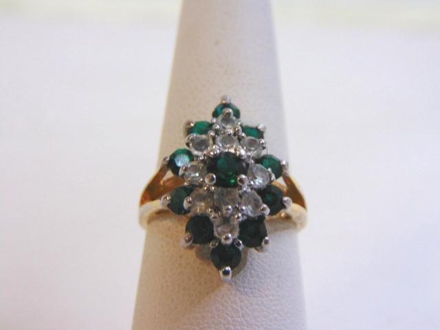 Women's Vintage Estate 10K Yellow Gold Cluster Ring