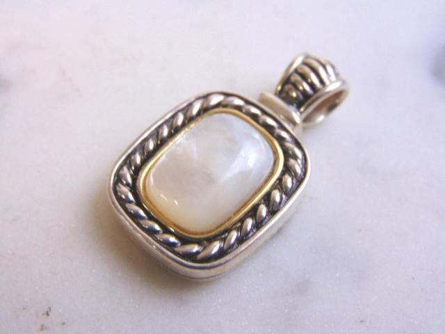 Women's Vintage Estate Sterling Silver 14K MOP Pendant