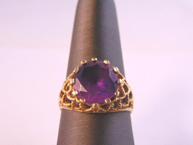 Womens Estate 10K Yellow Gold Filigree Amethyst Ring