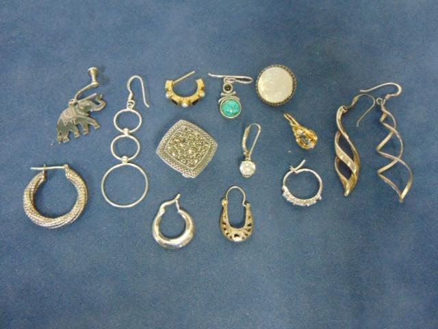 Box Lot Vintage Estate Sterling Silver Earrings