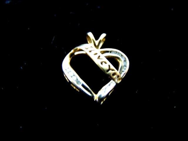 Vintage Estate 10K Gold Heart Pendant With Diamonds