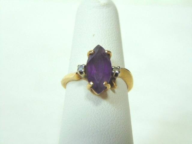 Womens Vintage 14K Yellow Gold & Marquis Amethyst Ring