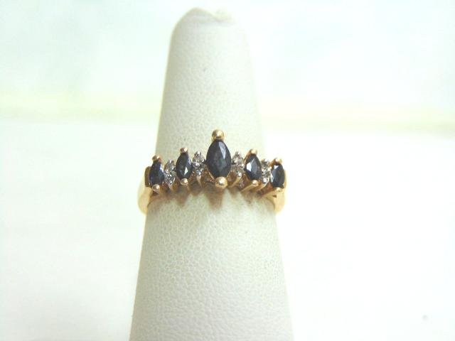 Womens 10k Gold Sapphire & Diamond Ring
