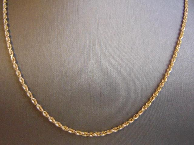 Vintage Estate 14K Yellow Gold Rope Chain Necklace