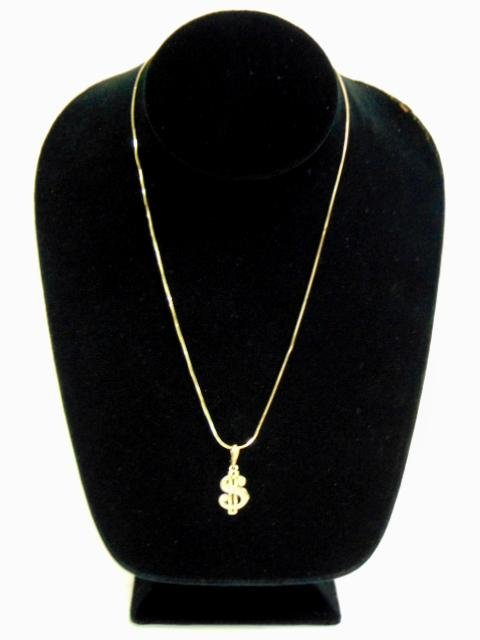 10K Gold Necklace w/ Money Dollar Sign Pendant