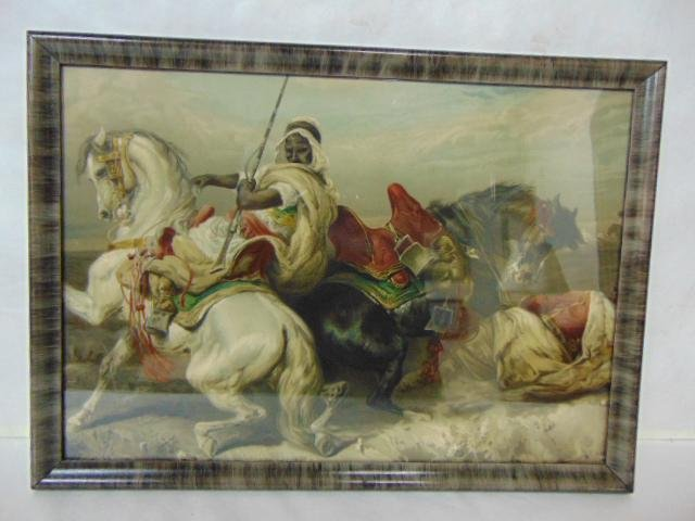 ANTIQUE ARAB WARRIOR HORSE PRINT W/ FRAME