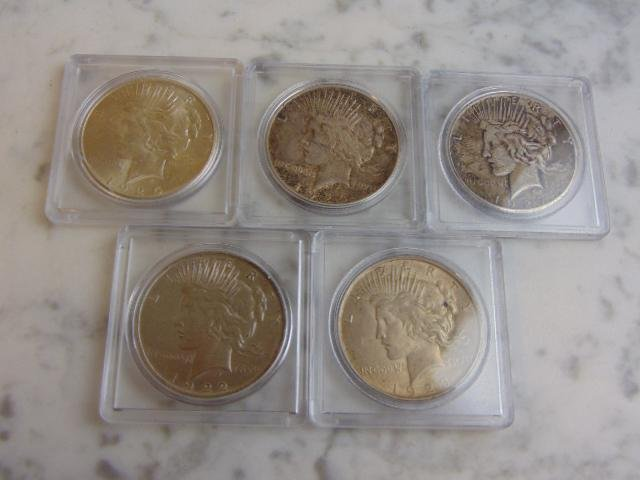 ESTATE FIND LOT OF 5 PEACE SILVER DOLLARS