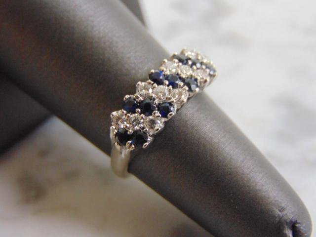 Women's Vintage Estate 18K Gold Diamond Sapphire Ring
