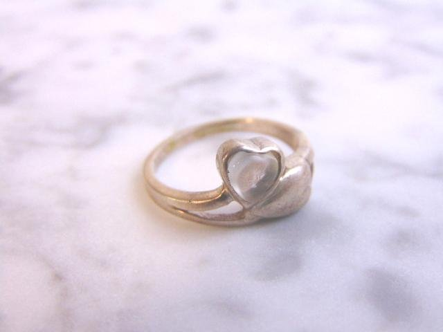 Womens Vintage Estate Sterling Silver Heart Ring