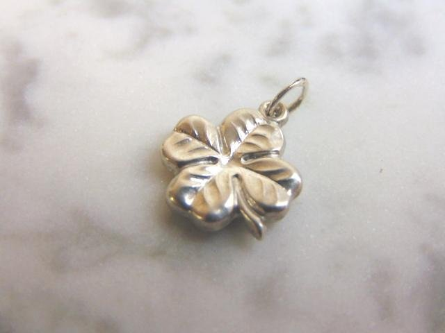 Womens Sterling Silver Irish Four Leaf Clover Charm
