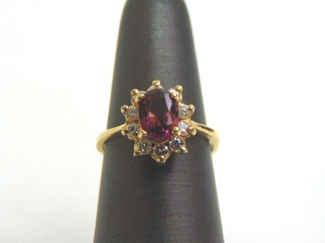 Womens Vintage 14k Yellow Gold Ring w/ Garnet & Diamond