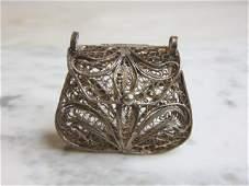 Womens Vintage Estate Sterling Silver Purse Pendant