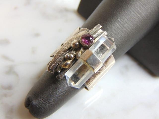 Womens Vintage Estate Sterling Silver Modernist Ring
