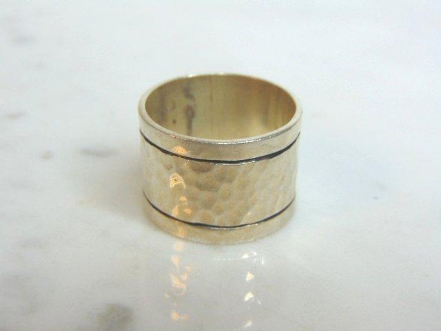 Mens Vintage Sterling Silver Hammered Cigar Band Ring