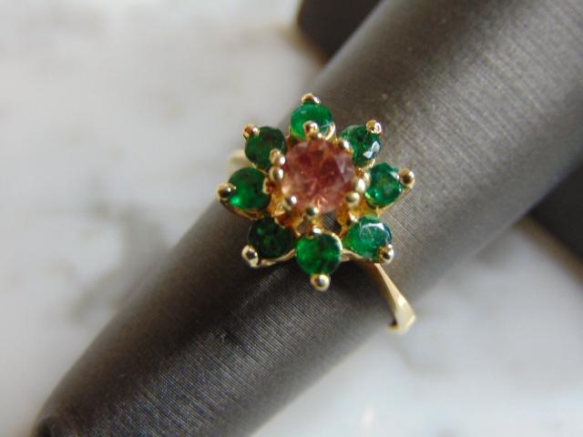 Womens 14K Gold Ring w/ Emerald & Rhodolite Stones