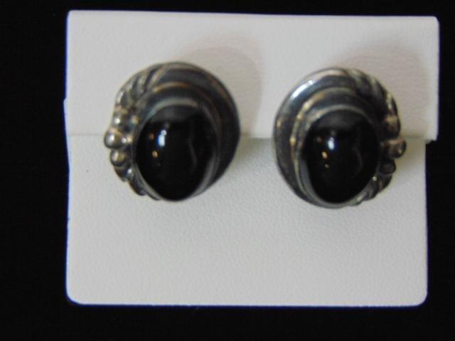 Womens Vintage Estate Sterling Silver Earrings W/ Onyx