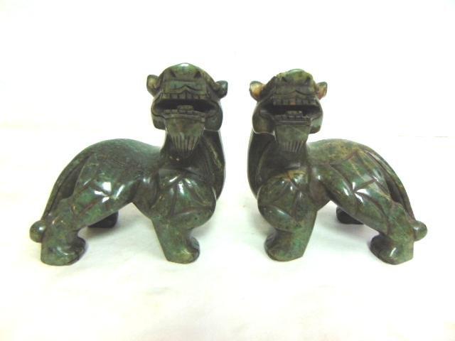 PR VINTAGE CHINESE CARVED HARD STONE FOO DOG LIONS