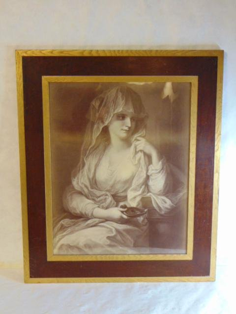 Antique Victorian Print of Woman Framed
