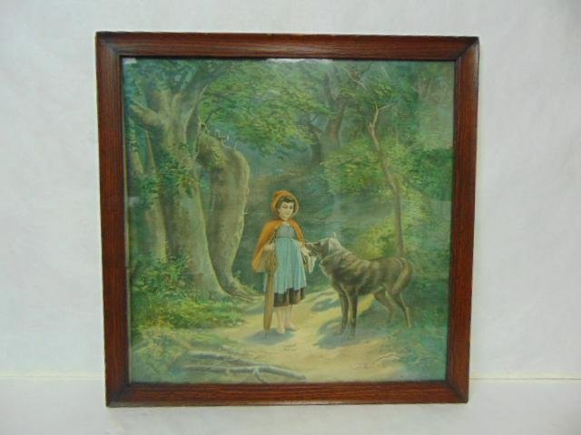 ANTIQUE LITTLE RED RIDING HOOD PRINT LITHO W/ OAK FRAME