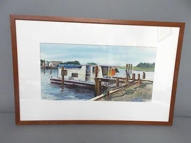 VINTAGE WATERCOLOR LITHO OF KNAPPS NARROWS SIGNED