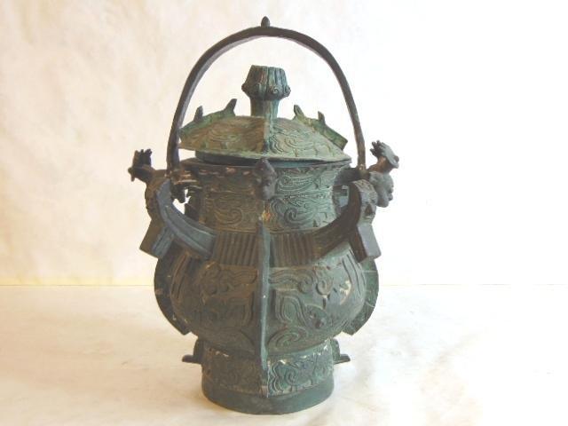 VINTAGE CHINESE BRONZE JAR W/ MYTHICAL ANIMAL