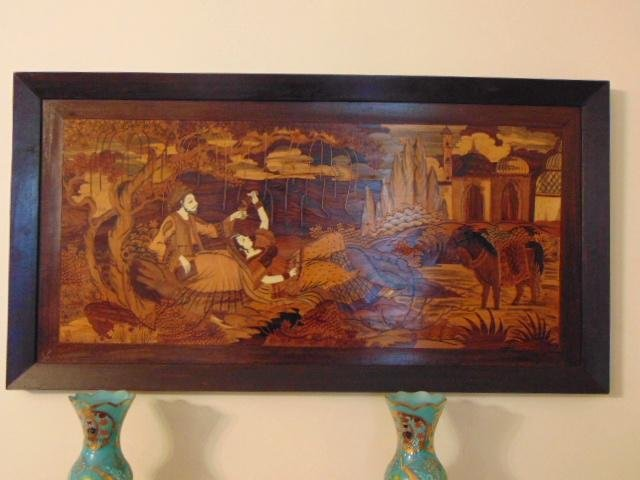 Vintage Antique Persian Inlaid Wooden Marquetry