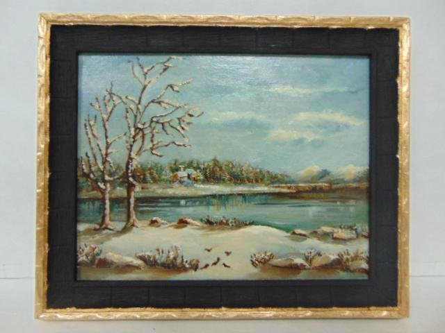 ANTIQUE OIL ON BOARD PAINTING OF A WINTER LAKE SCENE